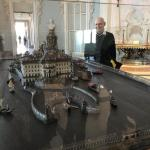 Mike checks out the model of Palazzo Borremeo.