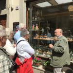Learning about local pastries in Lucca.