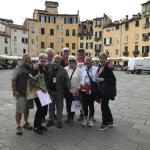 In Piazza Amphitheater in Lucca with our guide Gabriele.