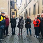 A happy group in rainy Orvieto.