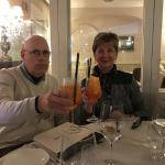 Mike and Barb enjoy an Aperol Spritzer at our dinner in Sorrento.