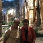 Dee and Judy in the Cloister of St. Francis church in Sorrento.
